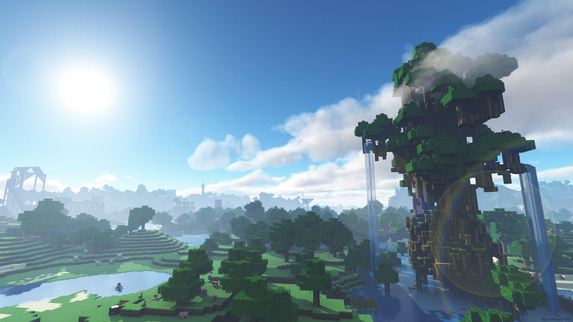 Blue Sky Minecraft Wallpaper Minecraft Shaders Background