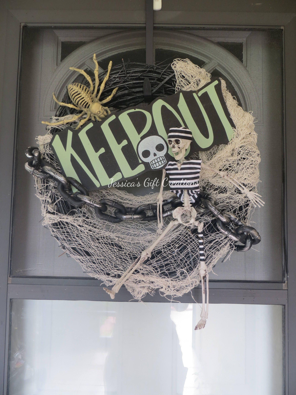 Ready to ship prisoner skeleton wreathhalloween wreathkeep out