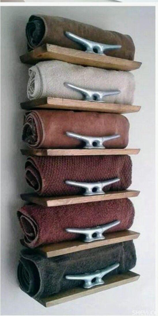 Rustikaler nautischer Handtuchhalter für 6 Handtücher #strandhuis