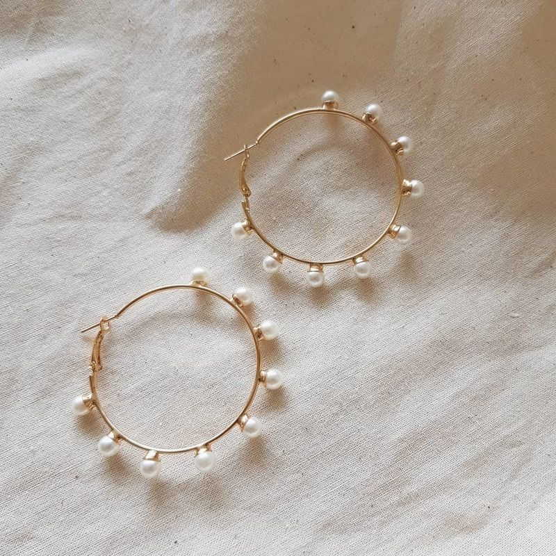 Scattered Pearl Gold Hoop Earrings