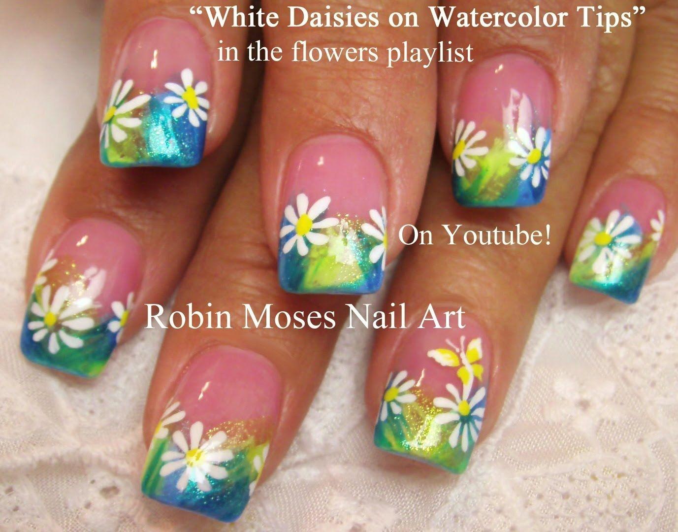 Daisy Nail Art | Wear combinationa | Pinterest | Daisy nail art ...