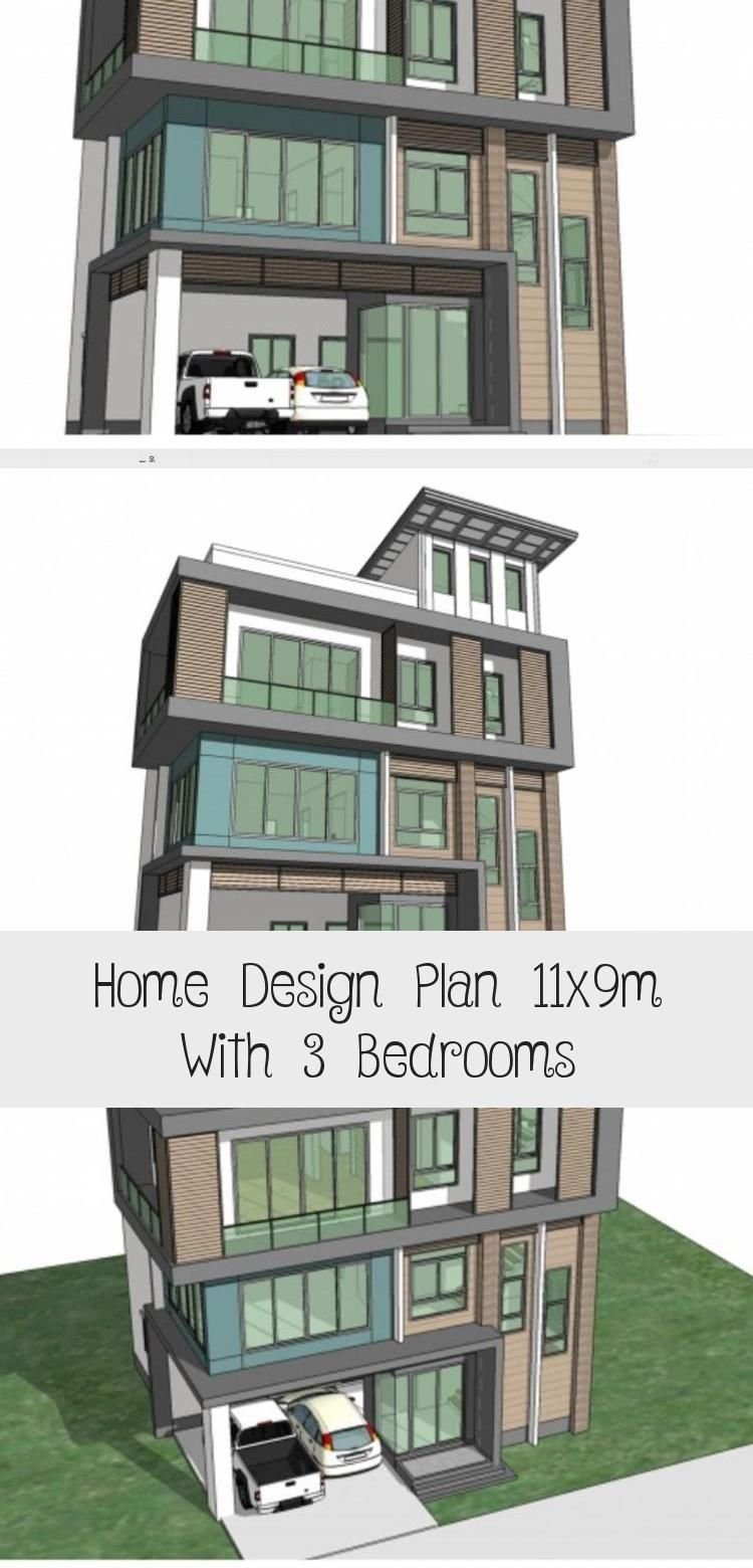 Home Design Plan 11x9m With 3 Bedrooms Home Ideas Tinyhousediycheapdesign In 2020 Home Design Plan House Design Unique Houses