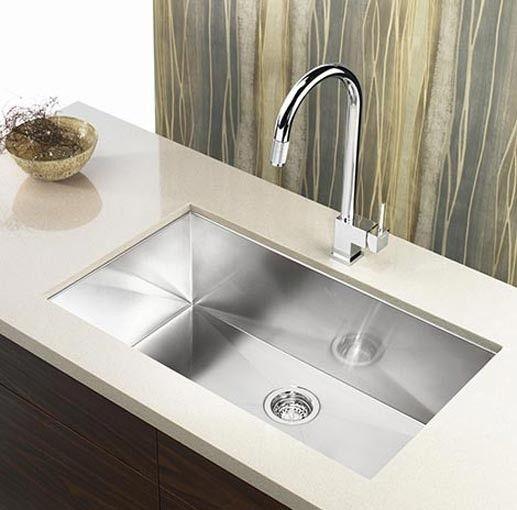 36 Inch Stainless Steel Undermount Single Bowl Kitchen Sink Zero Radius Design Kitchen Sink Design Contemporary Kitchen Sinks Steel Kitchen Sink