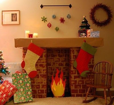 Image result for how to make a handmade fireplace christmas step by step
