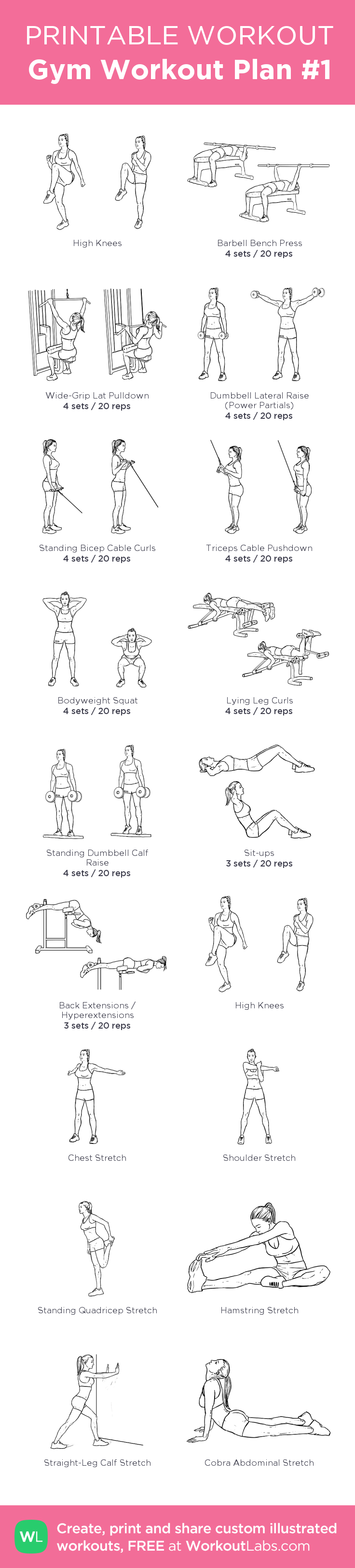 Gym Workout Plan #1: Instead of high knees do 5' warm up on treadmill, and at the end 5' low intensity for cool down before stretching. my custom printable workout by @WorkoutLabs #workoutlabs #customworkout