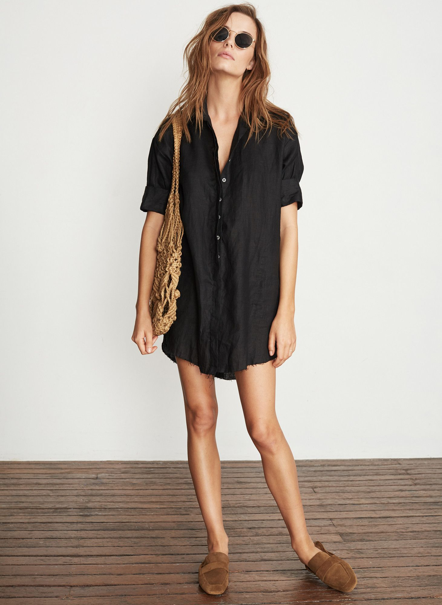 PLAIN BLACK LINEN - TESTONI SHIRT DRESS