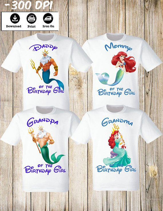 Little Mermaid Ariel Girl Birthday Party Shirt Personalized Family Set Of 4 Iron Transfers Mommy Da