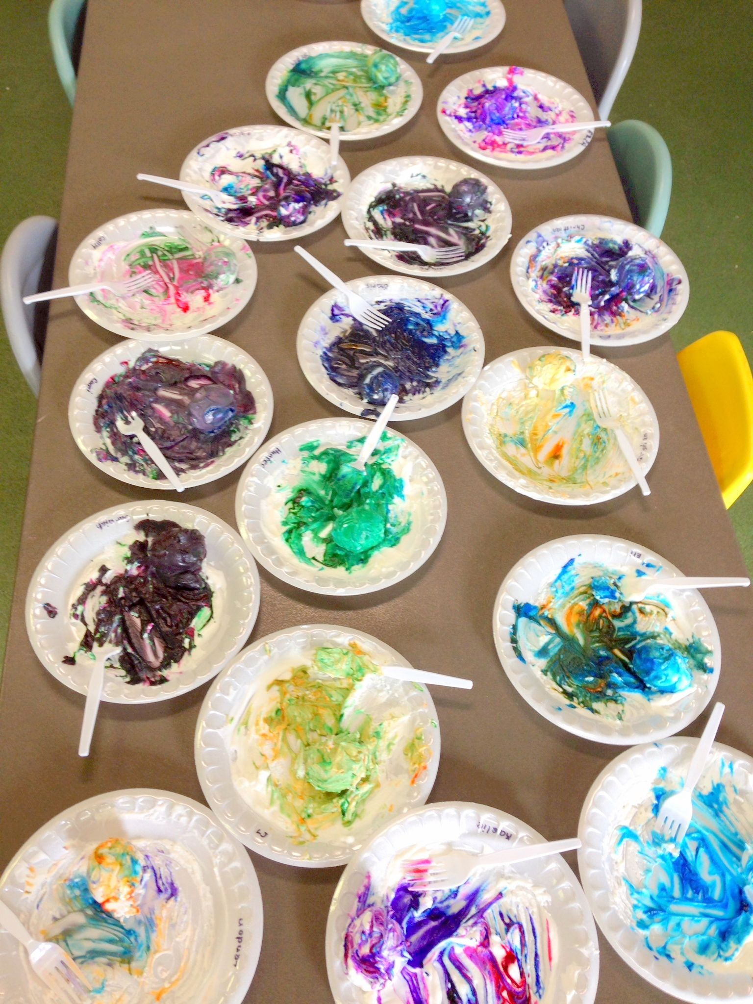 Cool Whip And Gel Food Dye Put On A Plate Have Children
