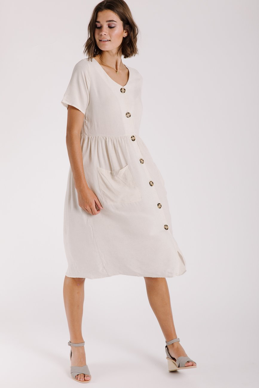 98a1256f34e The Manila Button Pocket Dress in Natural