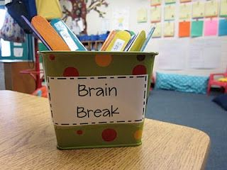 """Each popscicle stick has an activity on it {like spin 3x, jump rope, macarena, seat swap, etc...}.  When I see that the kids are starting to fade away, I stop and say """"man, our brains need to take a break...lets do a brain break."""" Then I randomly select a popsicle stick and we do the activity together.  The kids absolutely go NUTS for these fun little activities.  None last longer than a minute and it's a great way to get them focused!"""