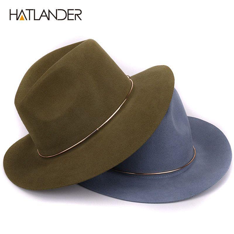 d251b7a1ca5  HATLANDER 100% wool fedora hats for women wide brim floppy trilby Jazz cap