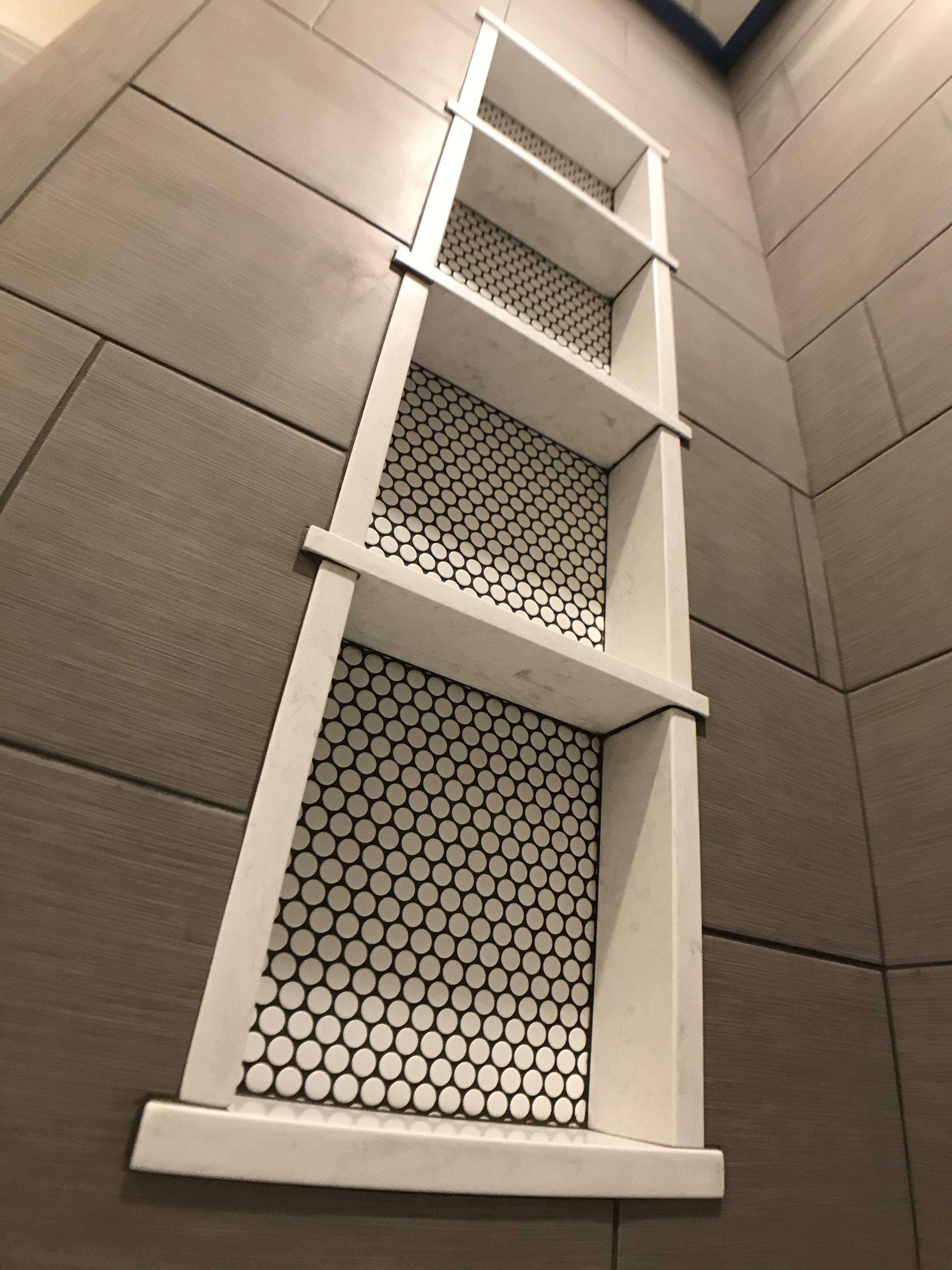 3 Shelves 4 Compartment Penny Round Niche Tile