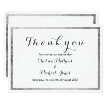 Simple Elegant White Faux Silver Modern Thank You Card Wedding Invitations Cards Custom Inv Wedding Thank You Cards Wedding Thank You Gifts Wedding Thank You