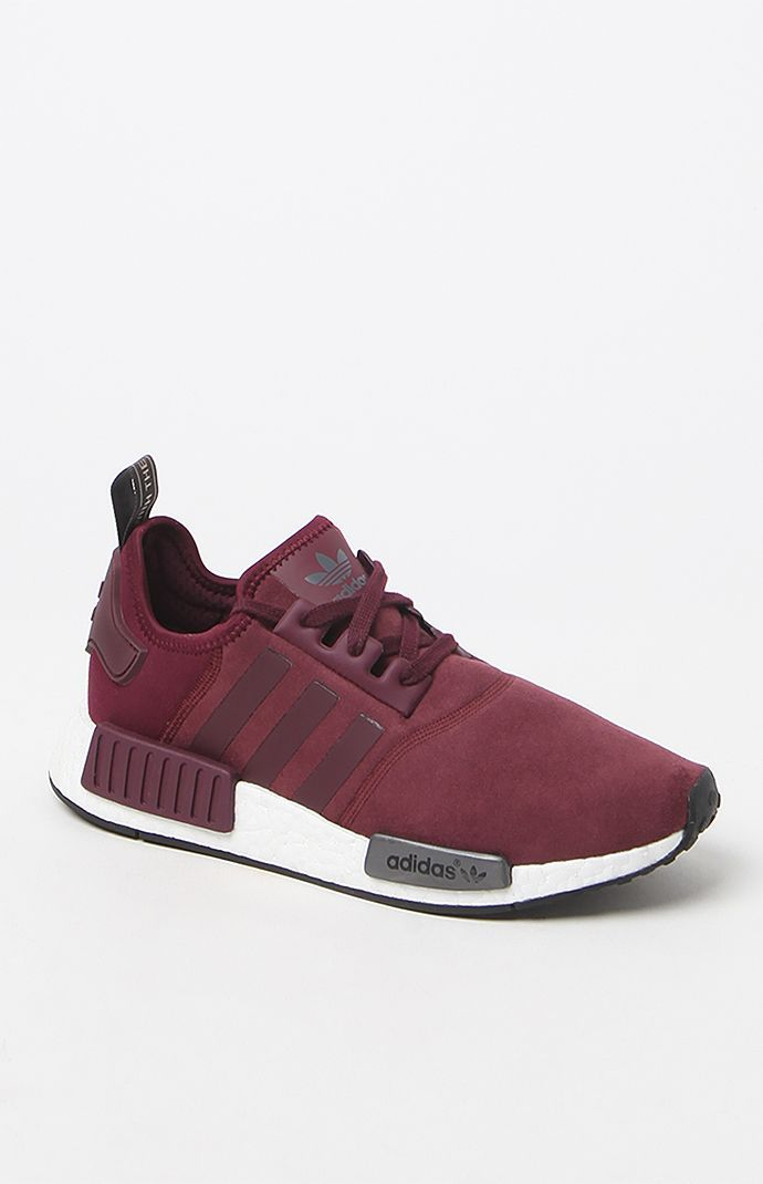 info for 8c6e6 8b36a Adidas womens NMD R1 Maroon sneakers