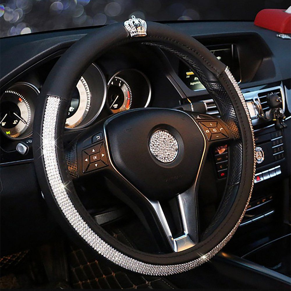 Car Steering Wheel Cover Nonslip Universal Pu Leather With Crystal