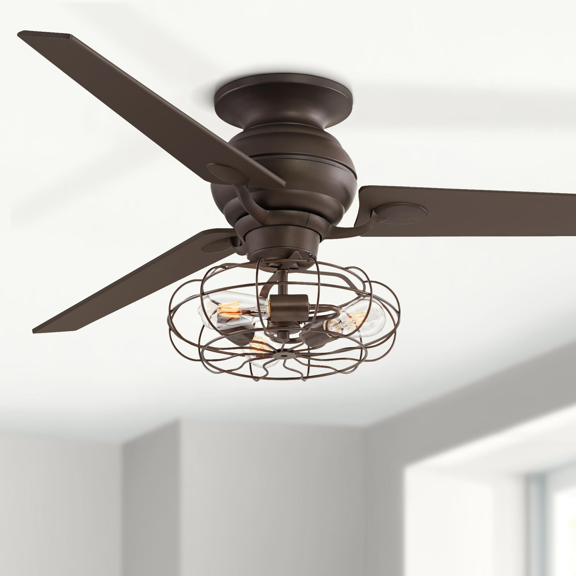 60 Inch Spyder Oil Rubbed Bronze Vintage Cage Led Ceiling Fan In