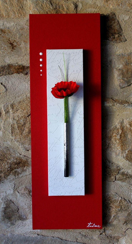 tableau floral pur rouge et blanc avec coquelicot tableaux pinterest purer. Black Bedroom Furniture Sets. Home Design Ideas