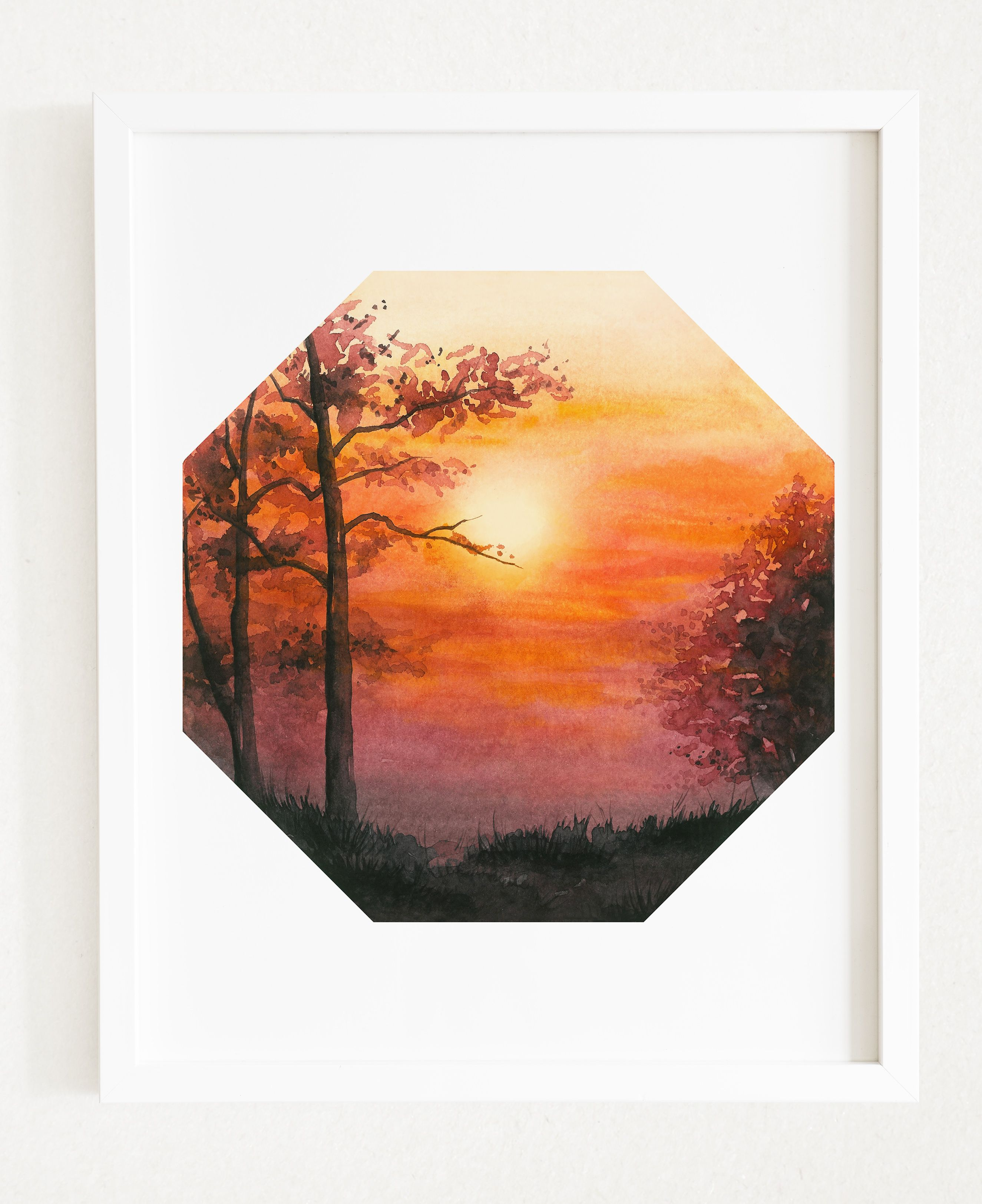 Watercolor Printable Art Warm Sunset Landscape Modern Print Forest