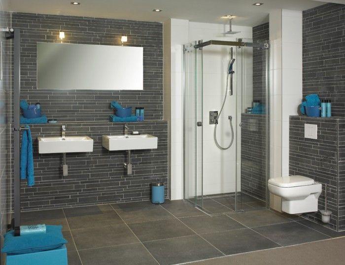 Inloopdouche Met Verwarming : Badkamer twee wastafels inloopdouche contrast badkamer