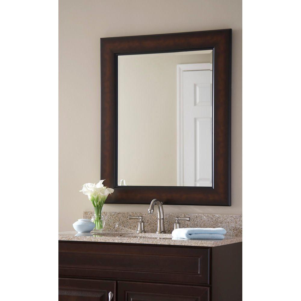 Martha Stewart Living Maracaibo 36 In X 30 In Coppered Bronze Plastic Framed Wall Mirror 71895 At Th Framed Mirror Wall Frames On Wall Framed Bathroom Mirror