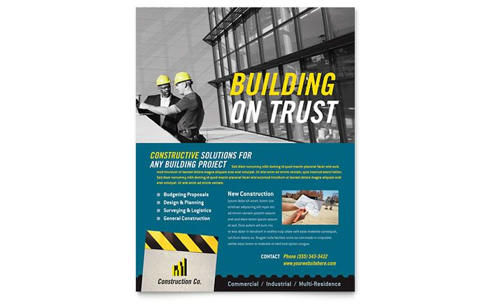 Industrial and Commercial Construction Flyer Design Template by - flyer format word