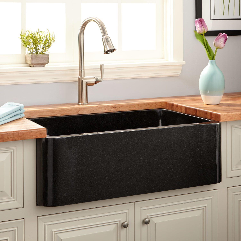 36 Polished Granite Farmhouse Sink Black Stone Farmhouse Sink Farmhouse Sink Kitchen Black Farmhouse Sink