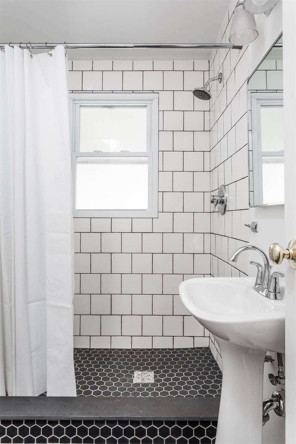 Turkey foot renoboys bathroom interior paint is sherman williams wall tile daltile matte in arctic white grout in charcoal floor tile somertile retro hex matte black grout in dorian dailygadgetfo Gallery