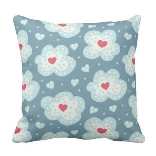 Cute Winter Hearts And Snowy Clouds Pattern Throw Pillow