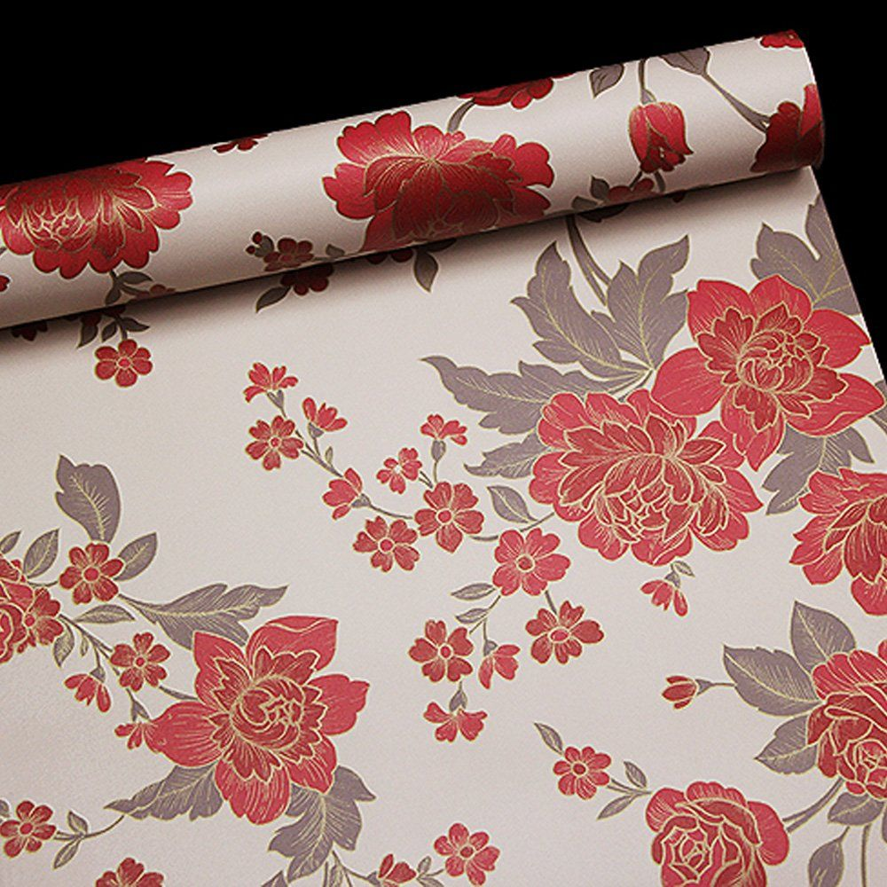 Simplelife4u Vintage Red Peony Removable Pvc Shelf Drawer Liner Home Decor Contact Paper 17x118 Inch Learn More By Vis Drawer Liner Red Peonies Shelf Liner