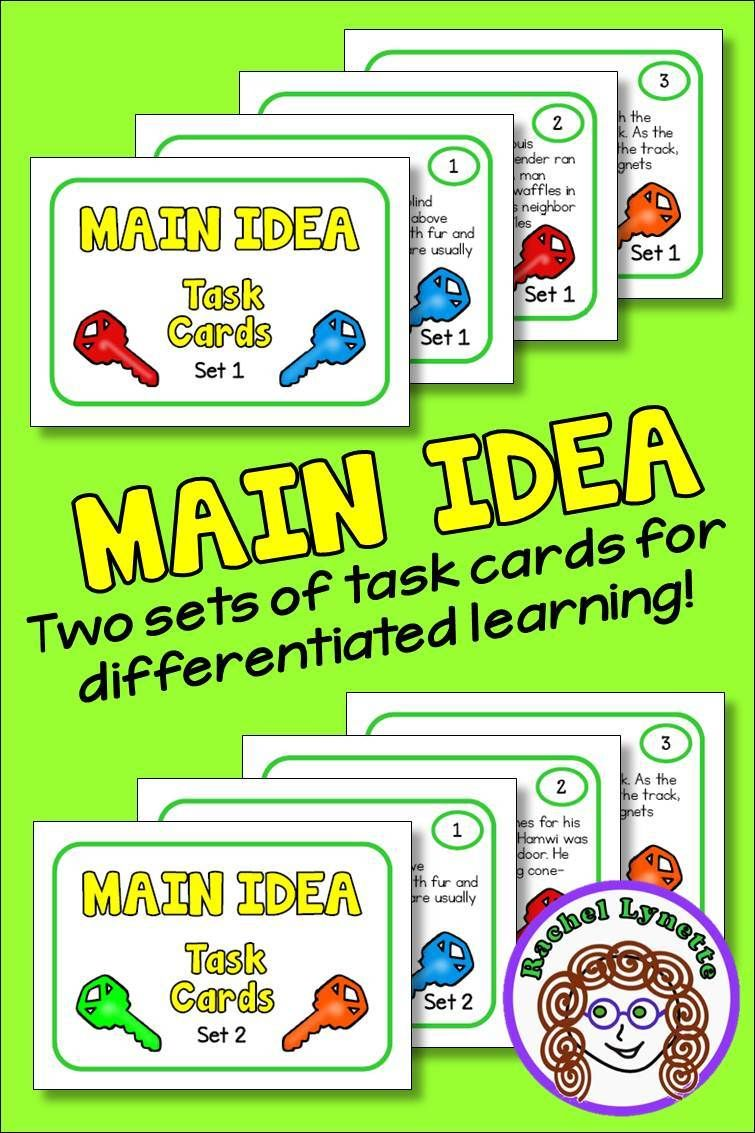 Main Idea Task Cards Differentiated Double Set Reading Strategy Reading Strategies Task Cards Reading Passages
