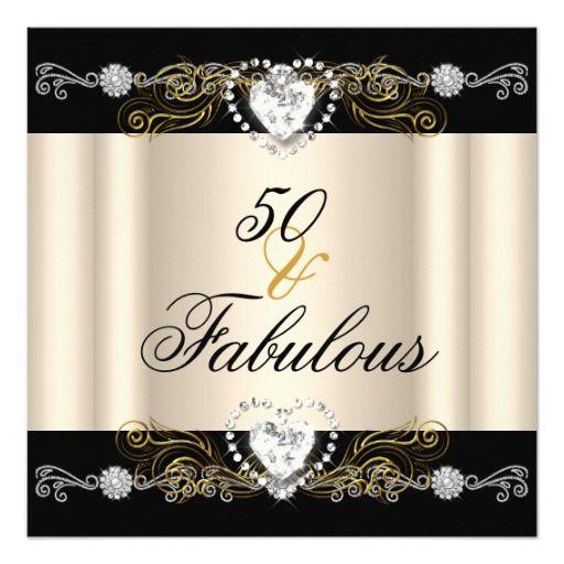 Fabulous 50 cream black silver gold 50th birthday invitation fabulous 50 cream black silver gold 50th birthday personalized invites filmwisefo