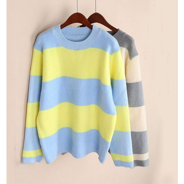 Kawaii Striped Sweater 39 Via Polyvore Featuring Tops Sweaters