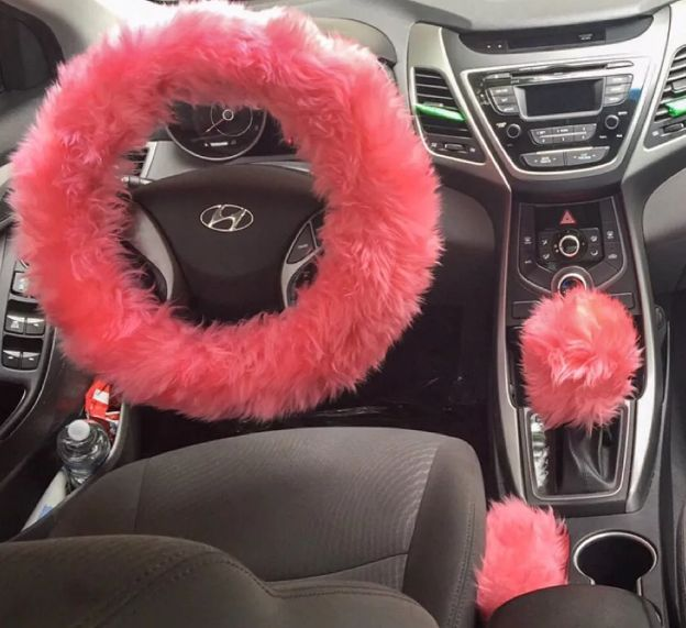Awesome Fur Lit Fluffy Steering Wheel Covers Set My First Car Car Accessories Car Accessories For Girls Girly Car