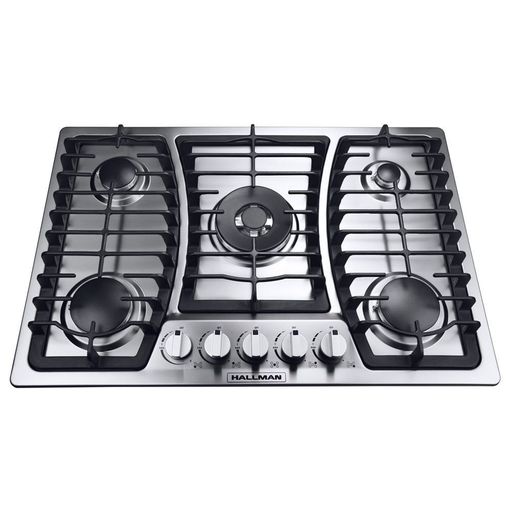 Hallman 30-inch Gas Cooktop with 5 Burners Including a Tri-Ring Power Burner