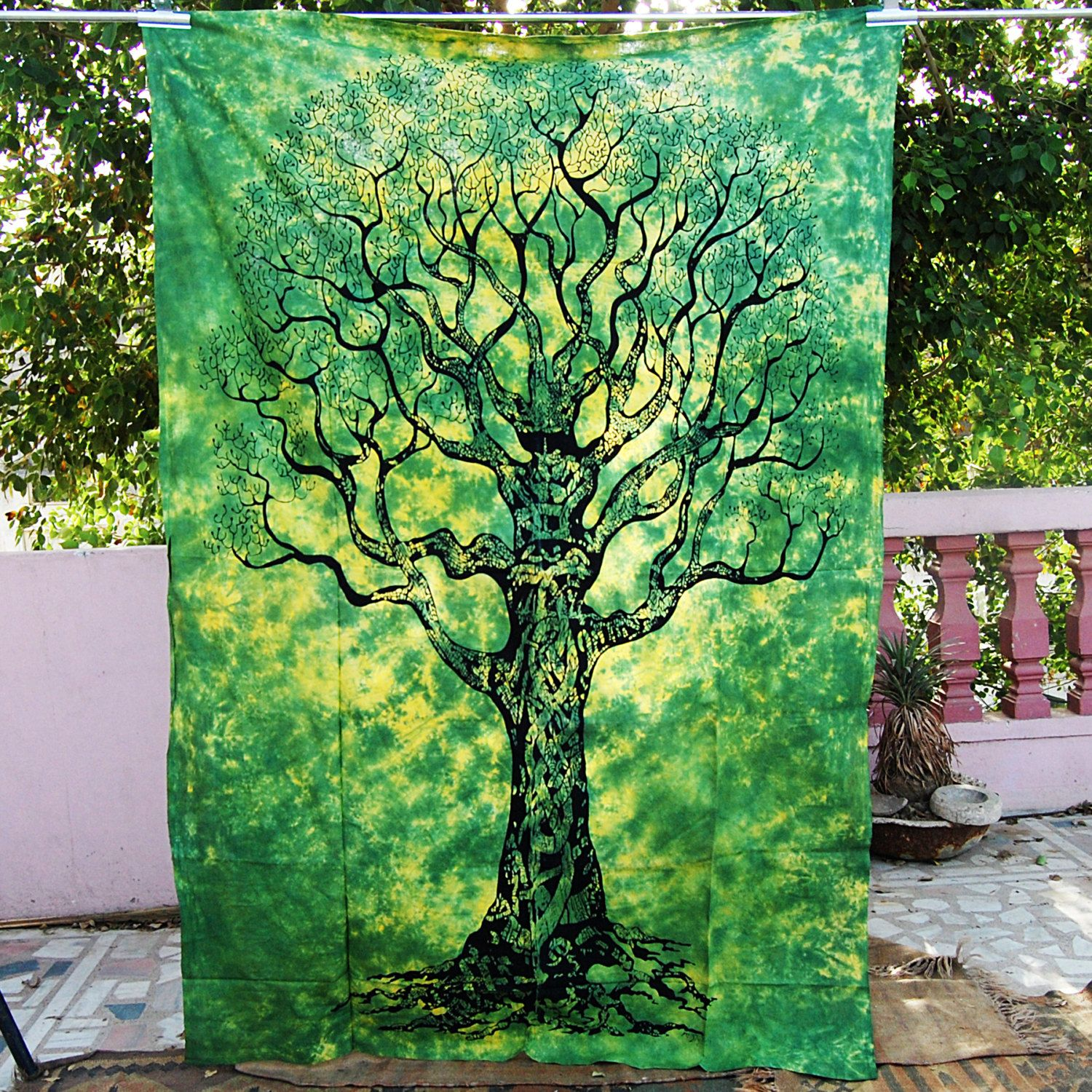 Tie dyed Indian tapestry tree of life hippy wall hanging hippie ...