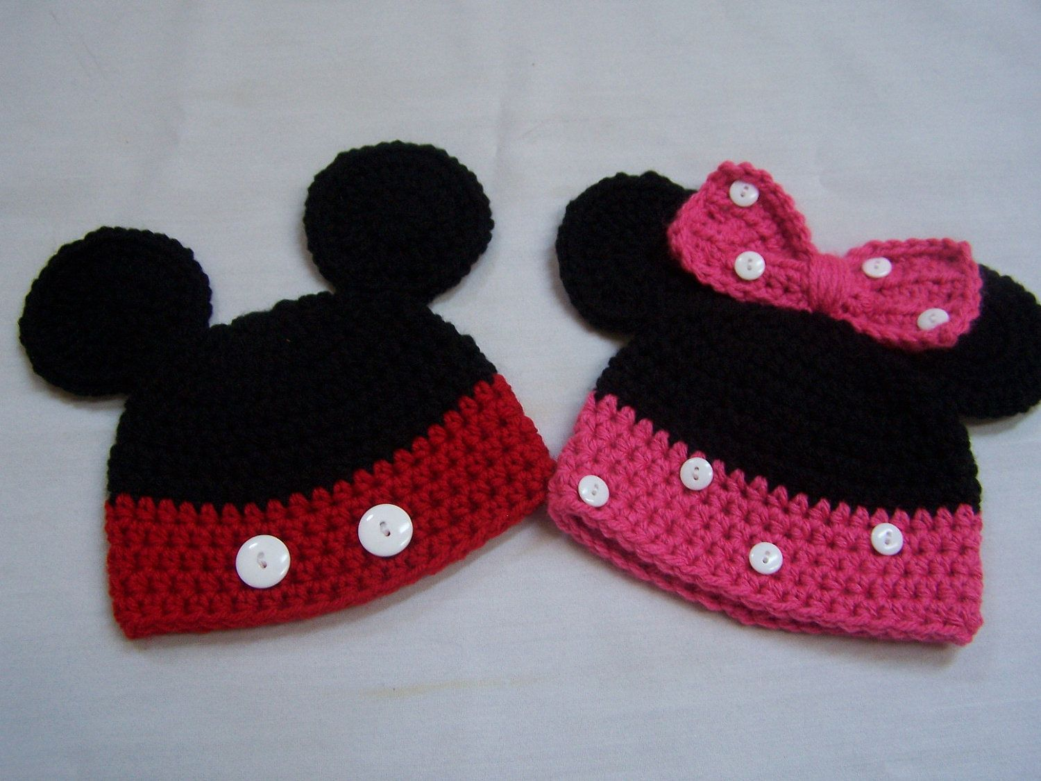 MADE TO ORDER Twin set Handmade Mickey and Minnie Mouse Baby Hat ...