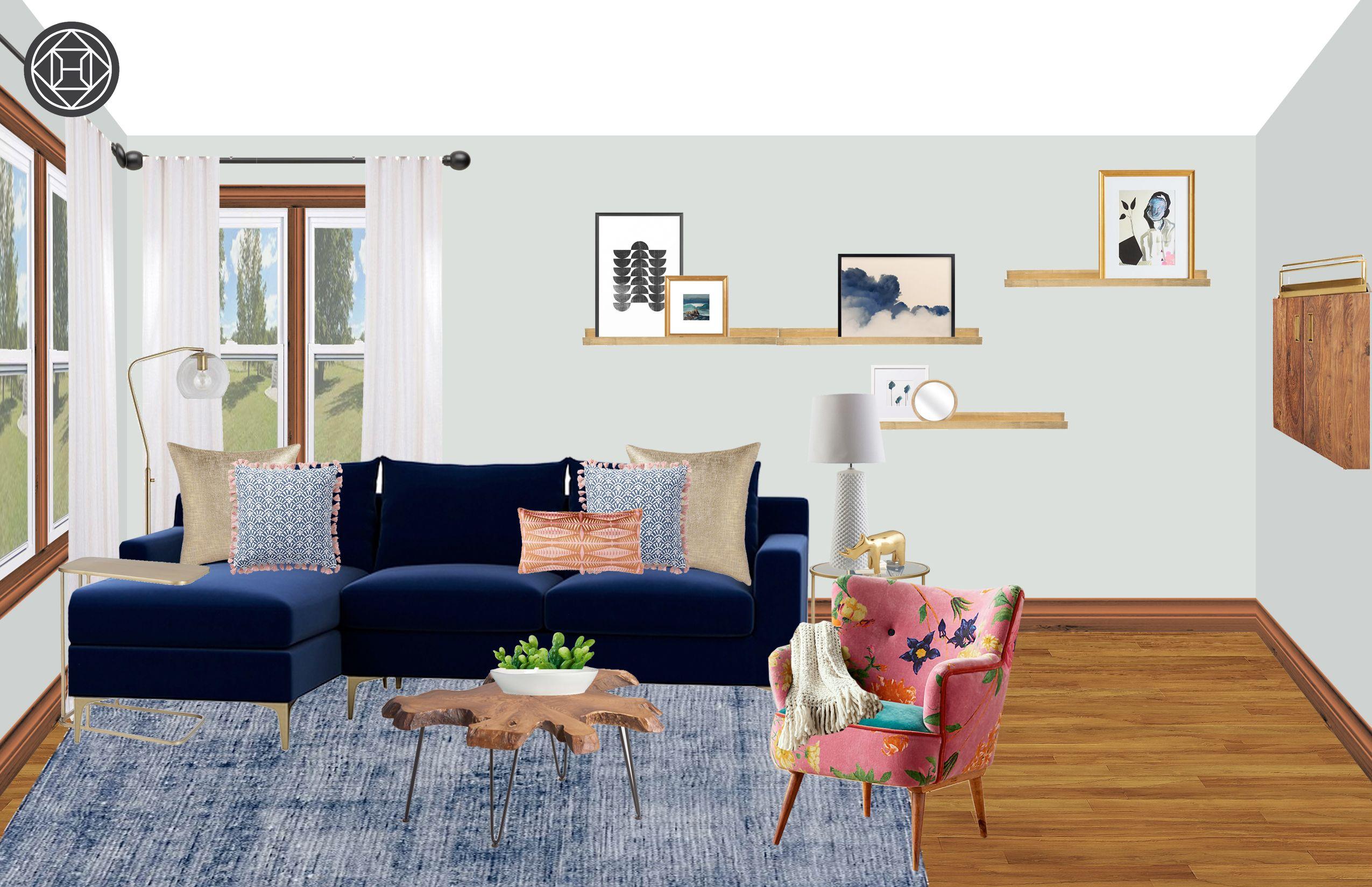 Eclectic, Bohemian, Midcentury Modern Living Room Design ...