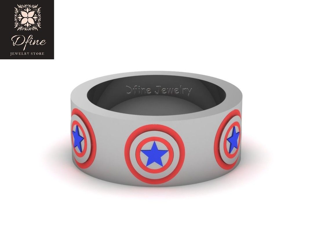 Dfinejewelrystore Posted To Instagram Captain America Ring Mens Wedding Band Captain America Shield Ring Sc Superhero Rings Mens Wedding Bands Shield Ring