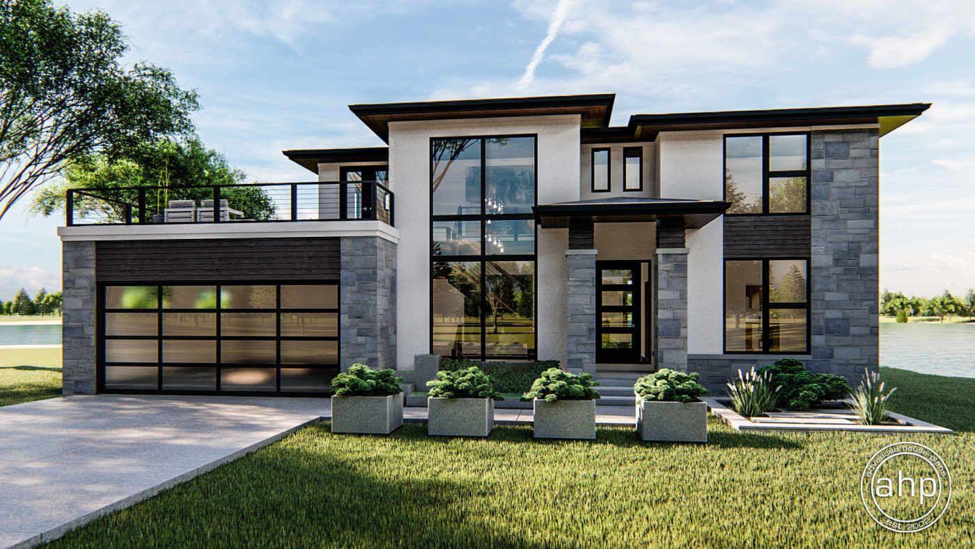 1 5 Story Modern Prairie House Plan Summit In 2020 Prairie Style Houses Prairie House Modern Style House Plans