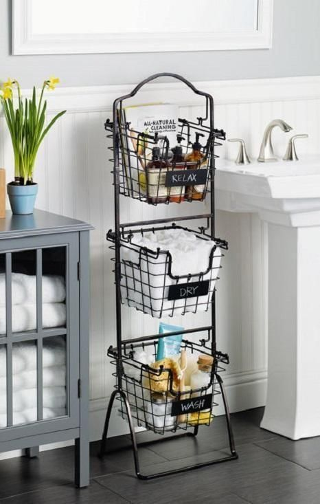 This 3 Tier Market Basket Stand Is The Practical And Elegant Storage Solution That Will B Bathroom Storage Shelves Bathroom Decor Bathroom Storage Organization