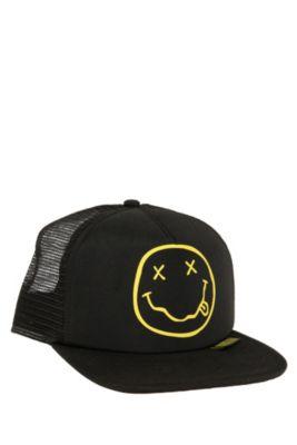bd6389895 Nirvana Smiley Snapback Trucker Hat   SnapBacks   Hats, Baseball ...