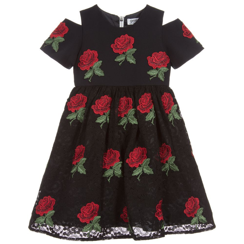 UK Kids Baby Girls Dress Lace Party Swing Dress Toddler Casual School Dresses