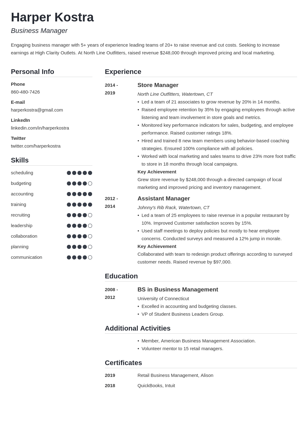 Business Manager Resume Example Template Simple Manager Resume Resume Examples Resume