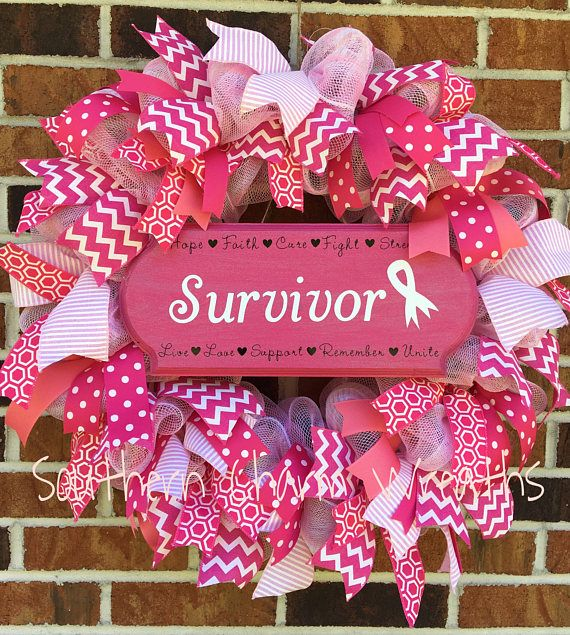 Photo of Items similar to Breast Cancer Survivor Awareness OTT Deco Mesh Ribbon Wreath on Etsy