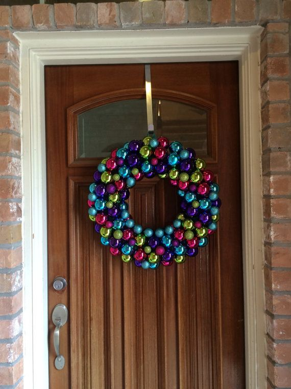 Sassy Christmas Ornament Wreath with Green, Pink, Purple, and Teal ornaments, Bauble Wreath, Christmas Wreath