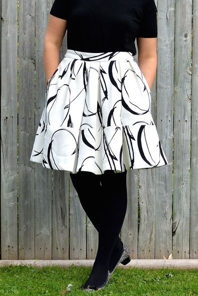 1413cd6e2 Lindsay from Nickel City Pretty takes the classic black and white look to  the next level with this XO patterned full skirt paired with a simple black  top ...