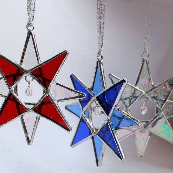 stained glass star crystal star choose your own colors vitrail pinterest vitrail. Black Bedroom Furniture Sets. Home Design Ideas