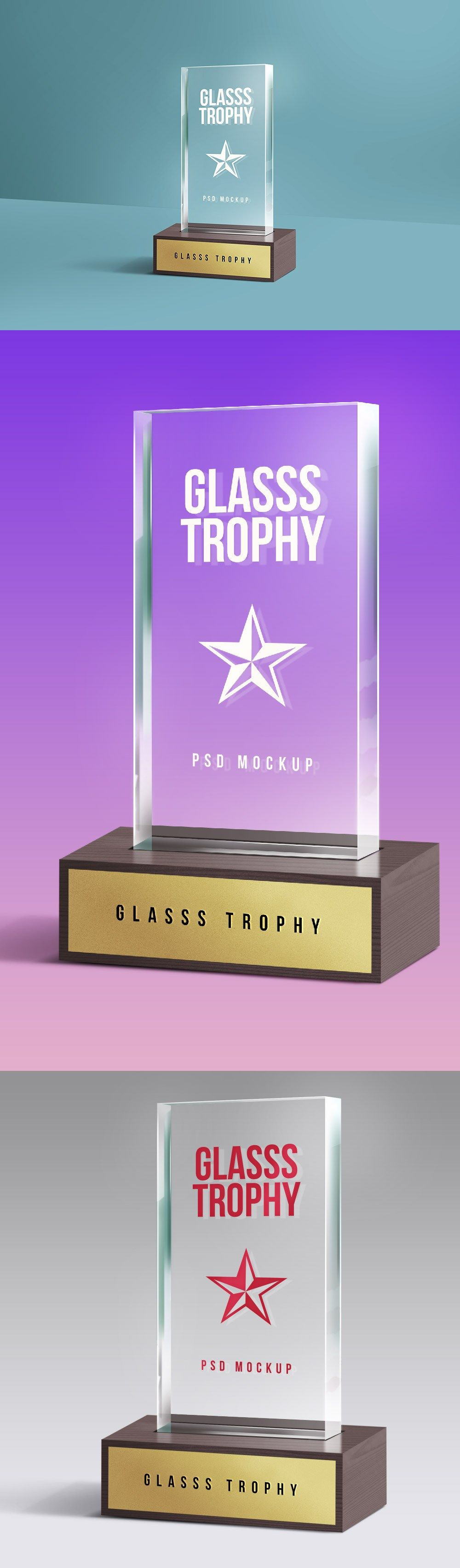 discover a realistic looking glass trophy mockup psd providing you a