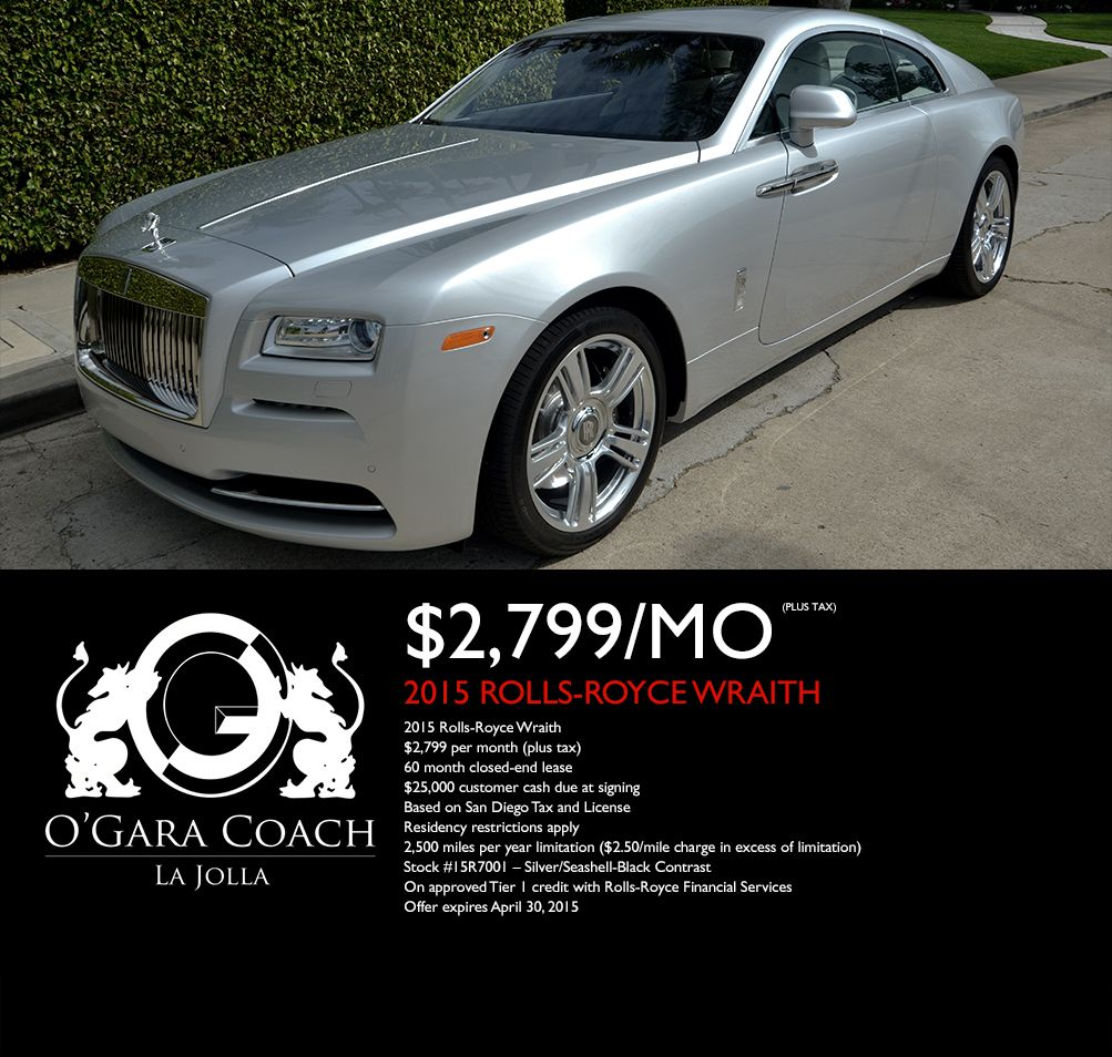gorgeous rolls-royce wraith lease special! call today at 888-867