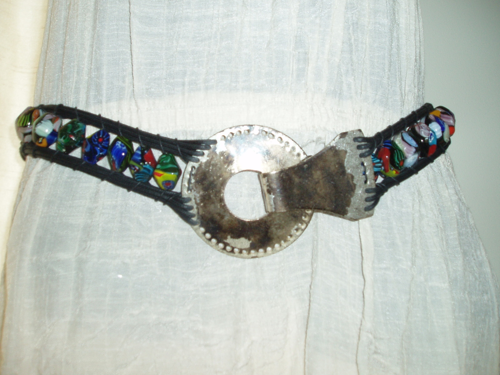 24.95$  Buy here - http://viuht.justgood.pw/vig/item.php?t=l9kf7ar10559 - Chicos blown glass beaded belt S/M 38 x 1.5 inches tip to tip buckle worn look 24.95$